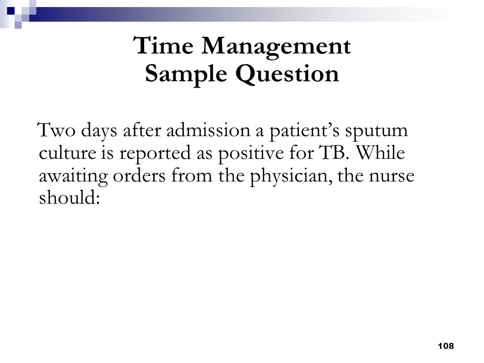 Time Management Sample Question