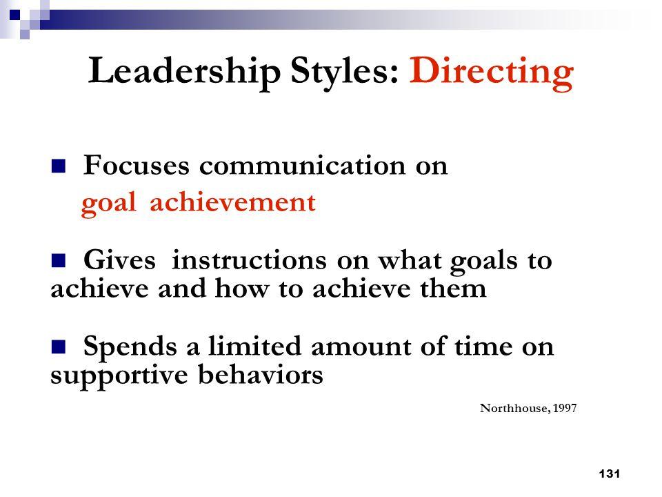 Leadership Styles: Directing
