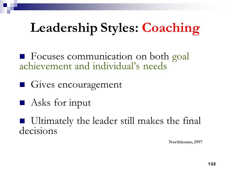 Leadership Styles: Coaching