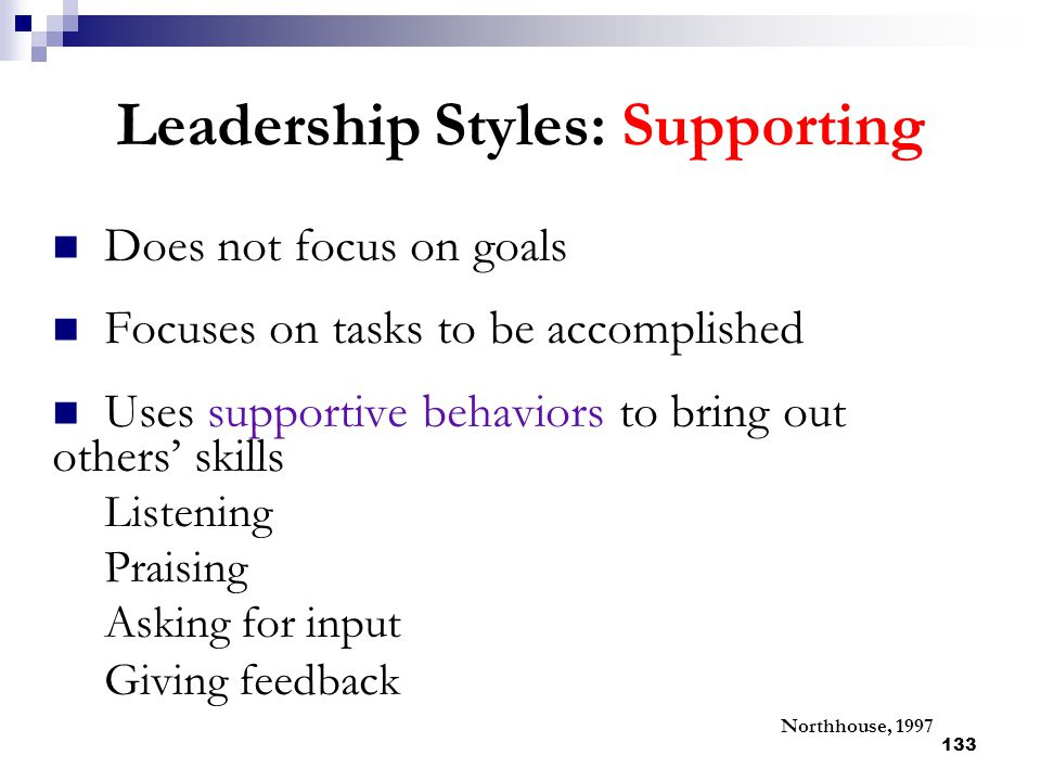 Leadership Styles: Supporting