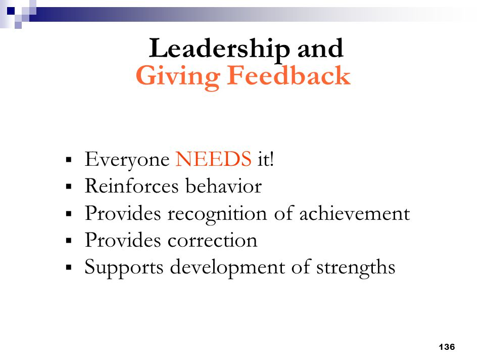Leadership and Giving Feedback