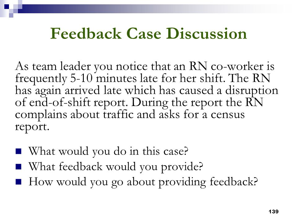 Feedback Case Discussion