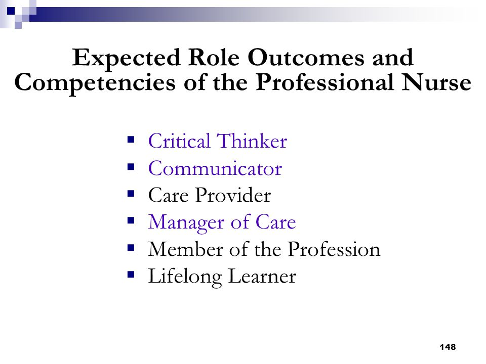Expected Role Outcomes and Competencies of the Professional Nurse