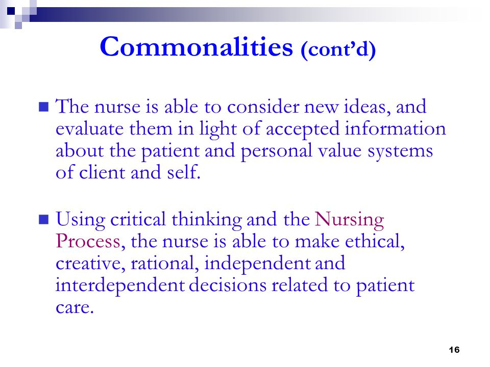 Commonalities (cont'd)