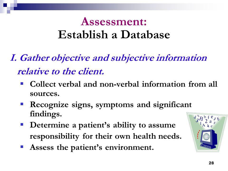 Assessment: Establish a Database