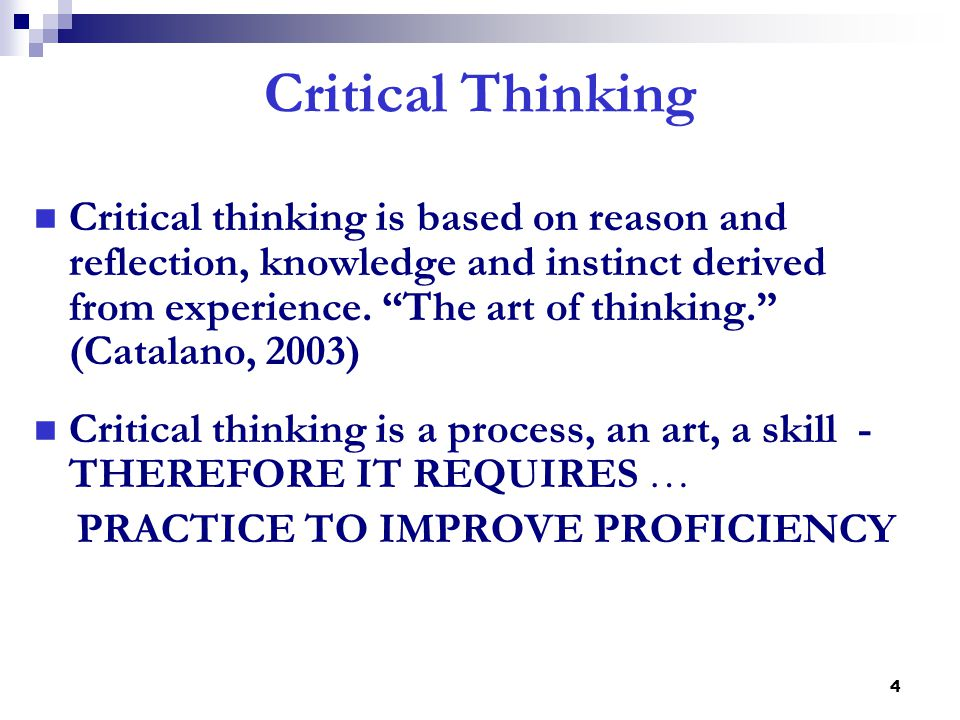 nurse critical thinking exercises Critical thinking is the art of applying what is learned in the classroom to actual, real-life situations critical thinking skills are especially vital in the.