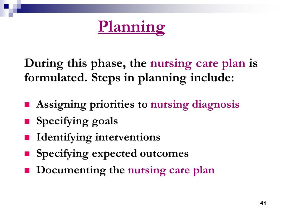 Planning During this phase, the nursing care plan is formulated. Steps in planning include: Assigning priorities to nursing diagnosis.