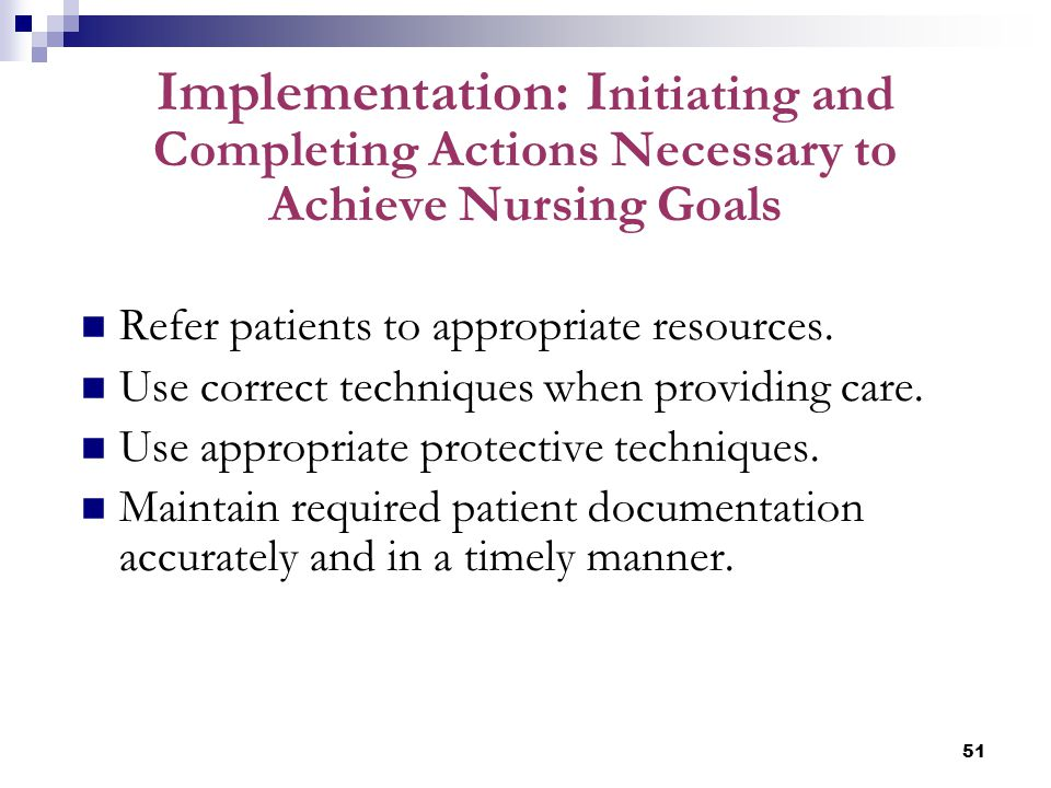 Implementation: Initiating and Completing Actions Necessary to Achieve Nursing Goals