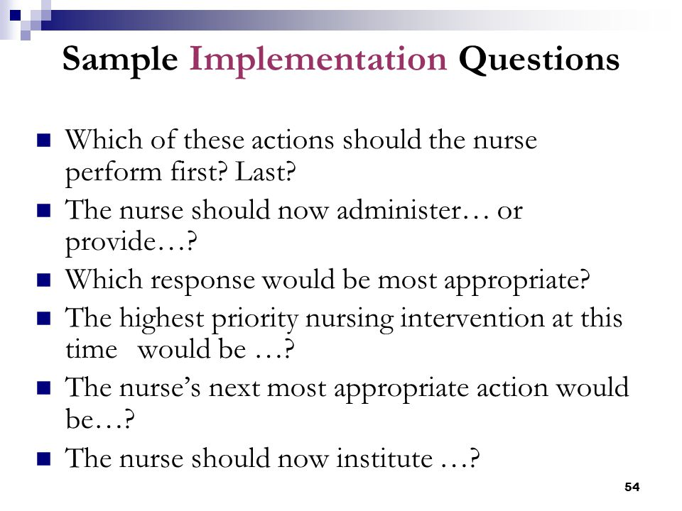 Sample Implementation Questions
