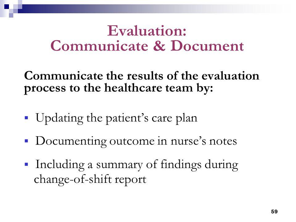 Evaluation: Communicate & Document