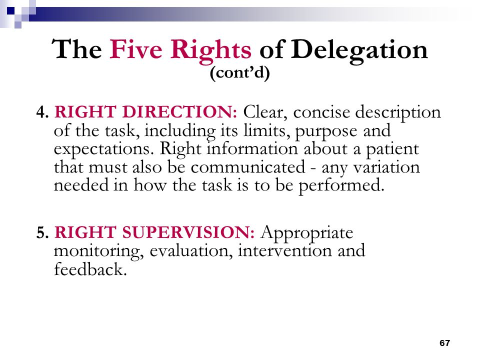 The Five Rights of Delegation (cont'd)
