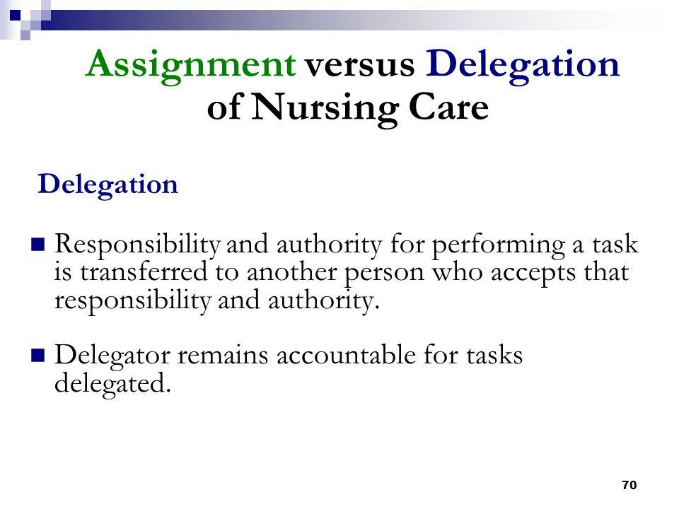 Assignment versus Delegation of Nursing Care