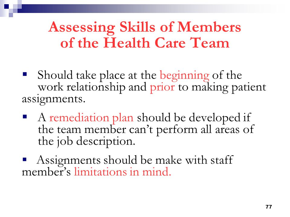 Assessing Skills of Members of the Health Care Team