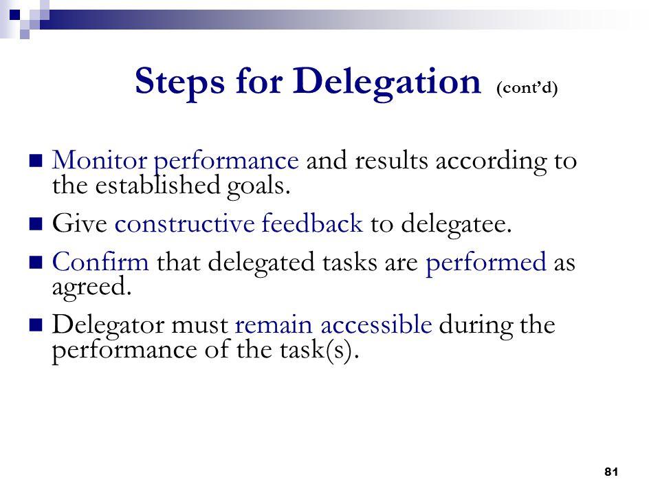 Steps for Delegation (cont'd)