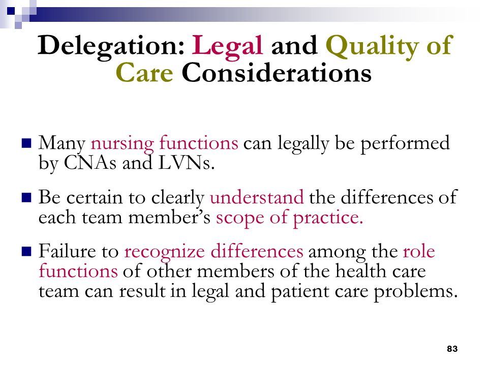 Delegation: Legal and Quality of Care Considerations