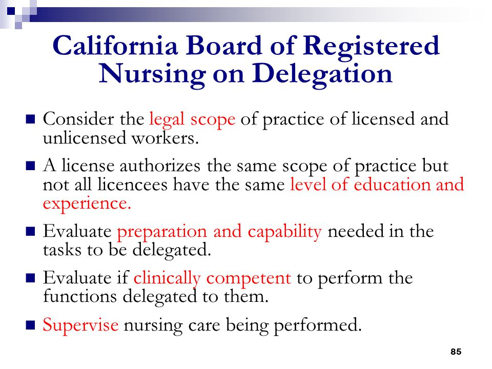 California Board of Registered Nursing on Delegation