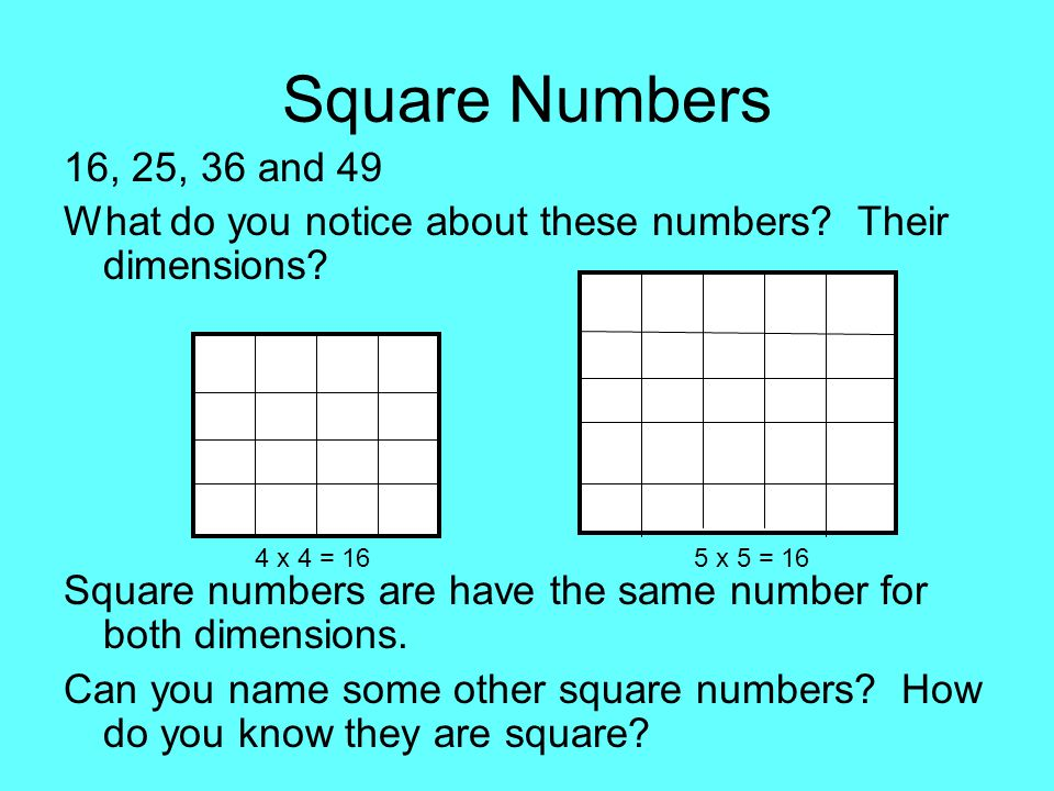 Square Numbers 16, 25, 36 and 49. What do you notice about these numbers Their dimensions