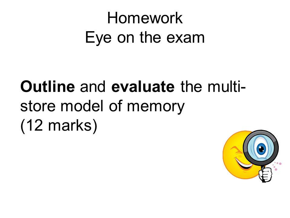 Homework Eye on the exam