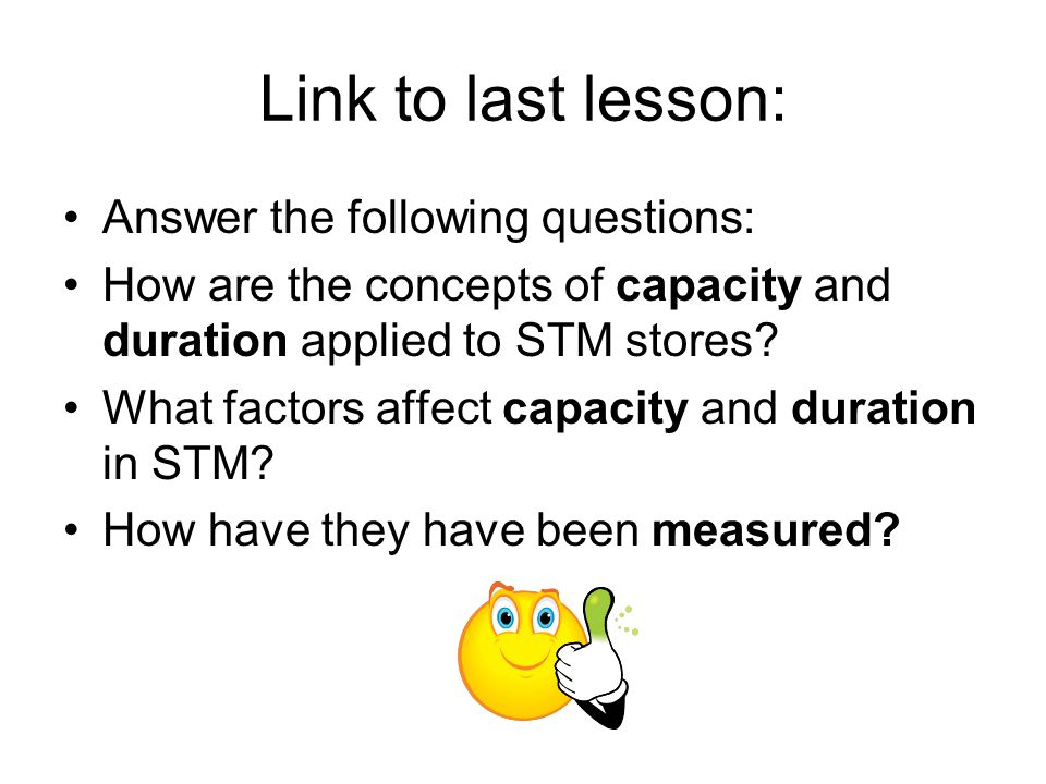 Link to last lesson: Answer the following questions: