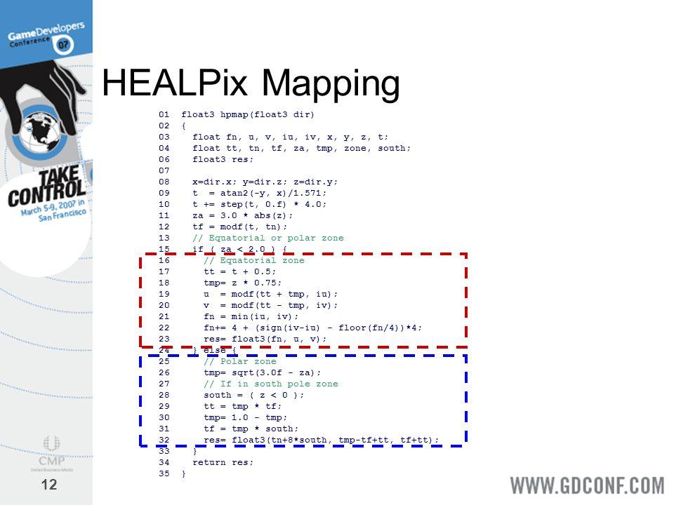 HEALPix Mapping 01 float3 hpmap(float3 dir) 02 {