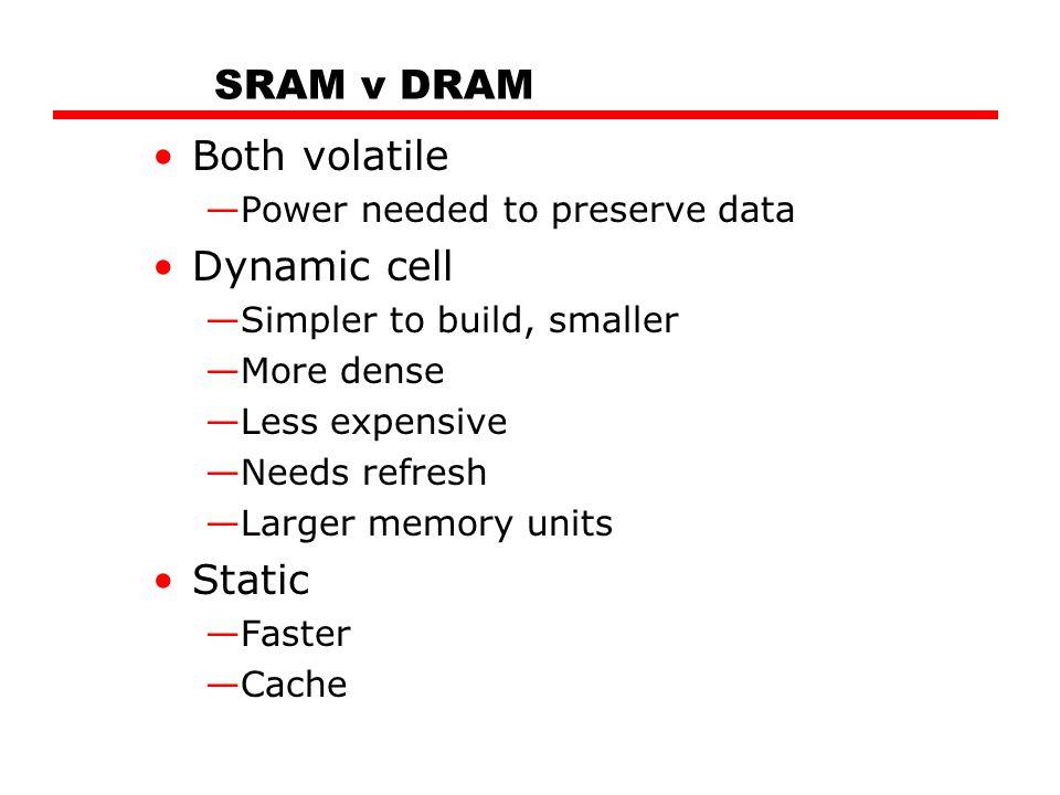 SRAM v DRAM Both volatile Dynamic cell Static