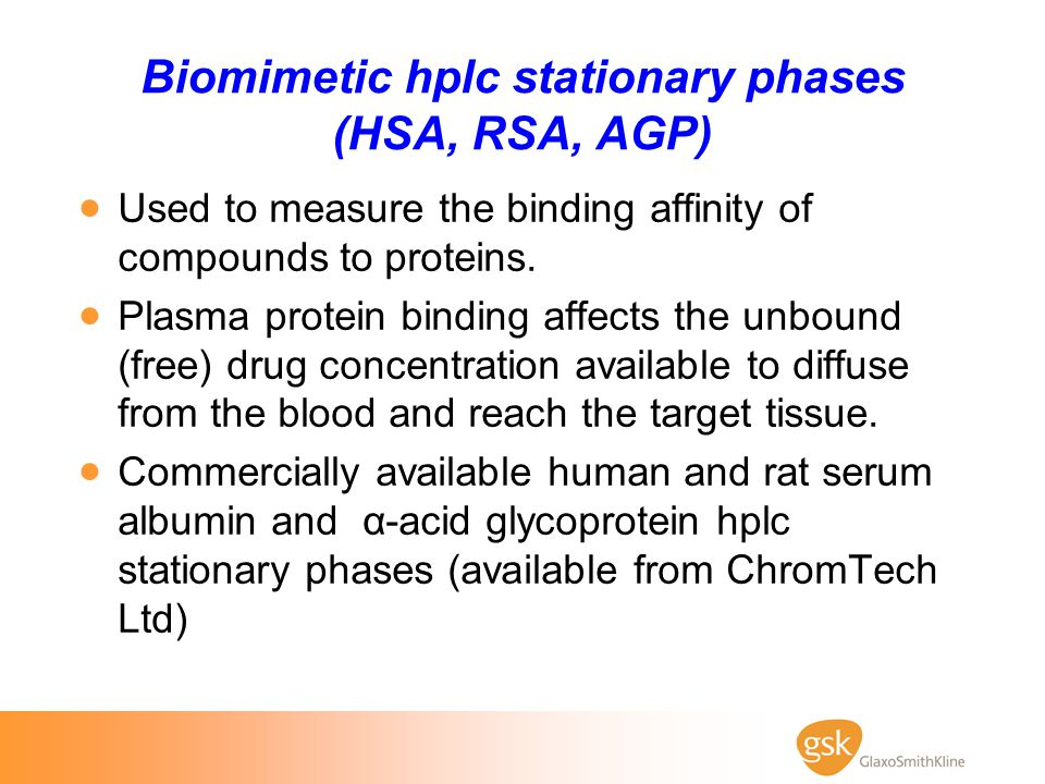 Biomimetic hplc stationary phases (HSA, RSA, AGP)
