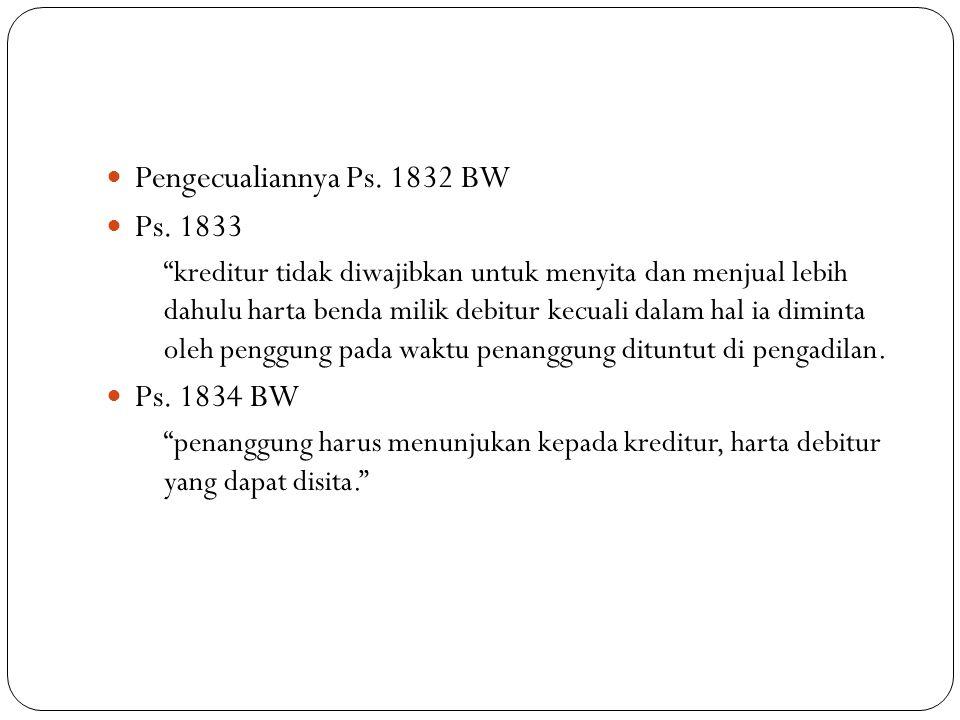 Pengecualiannya Ps. 1832 BW Ps. 1833 Ps. 1834 BW