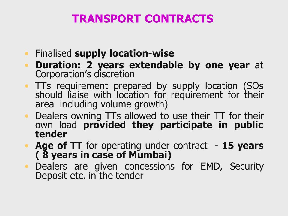 TRANSPORT CONTRACTS Finalised supply location-wise