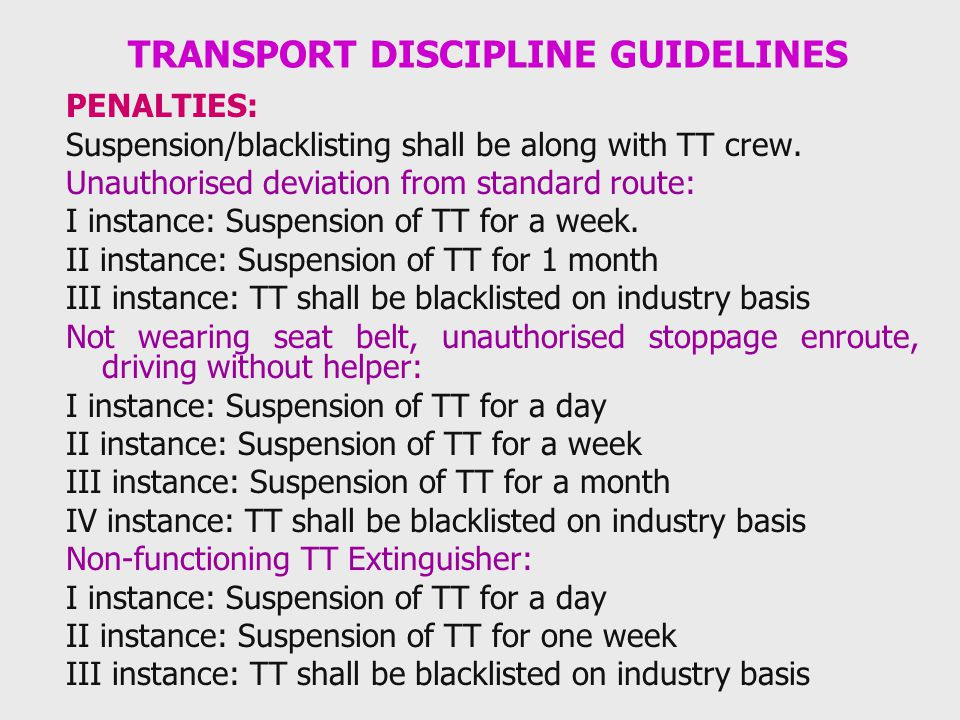 TRANSPORT DISCIPLINE GUIDELINES