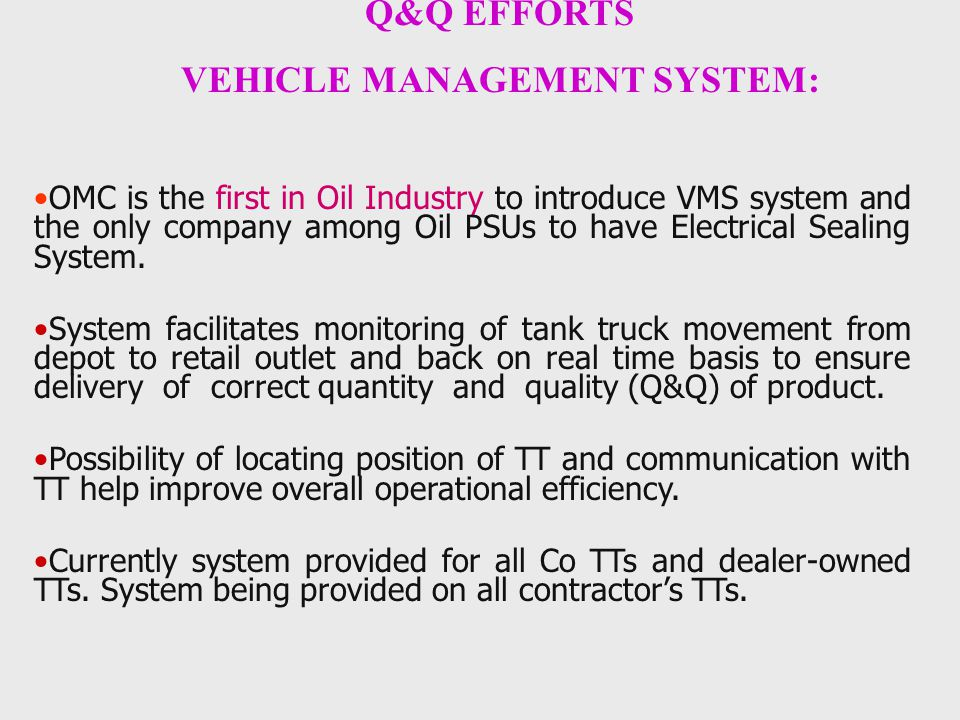 VEHICLE MANAGEMENT SYSTEM:
