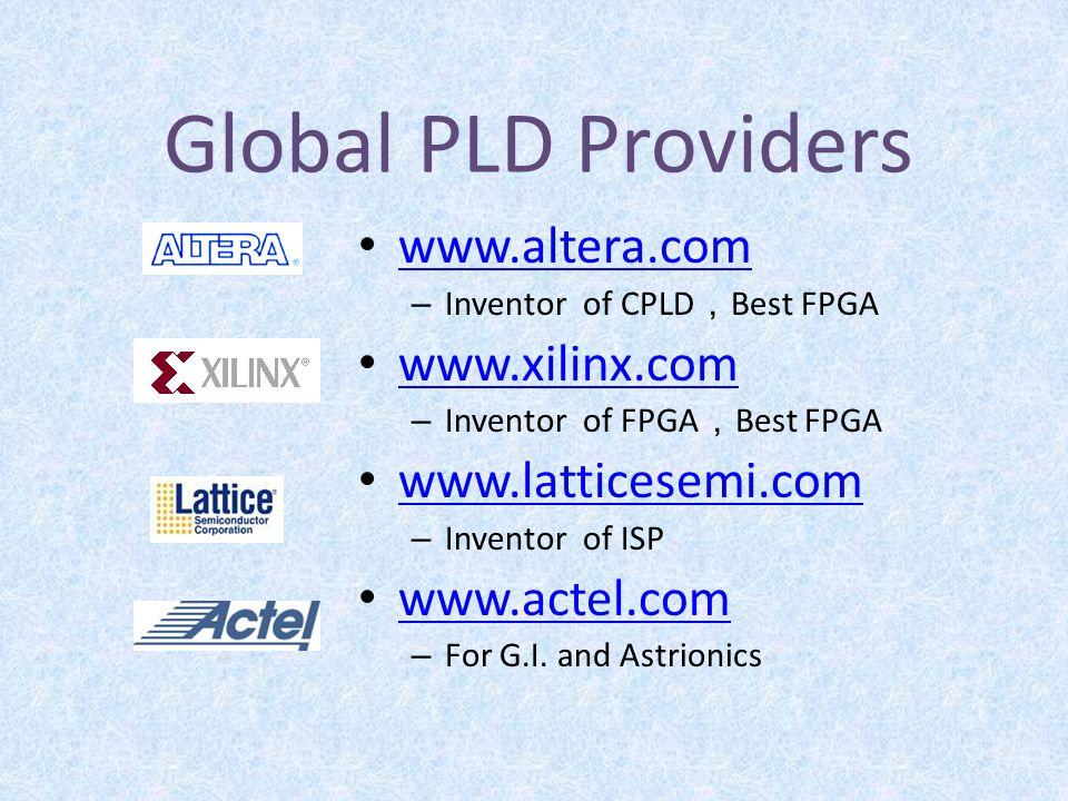 Global PLD Providers www.altera.com www.xilinx.com www.latticesemi.com