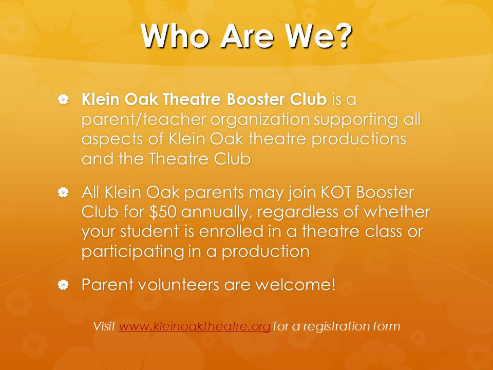 Visit www.kleinoaktheatre.org for a registration form
