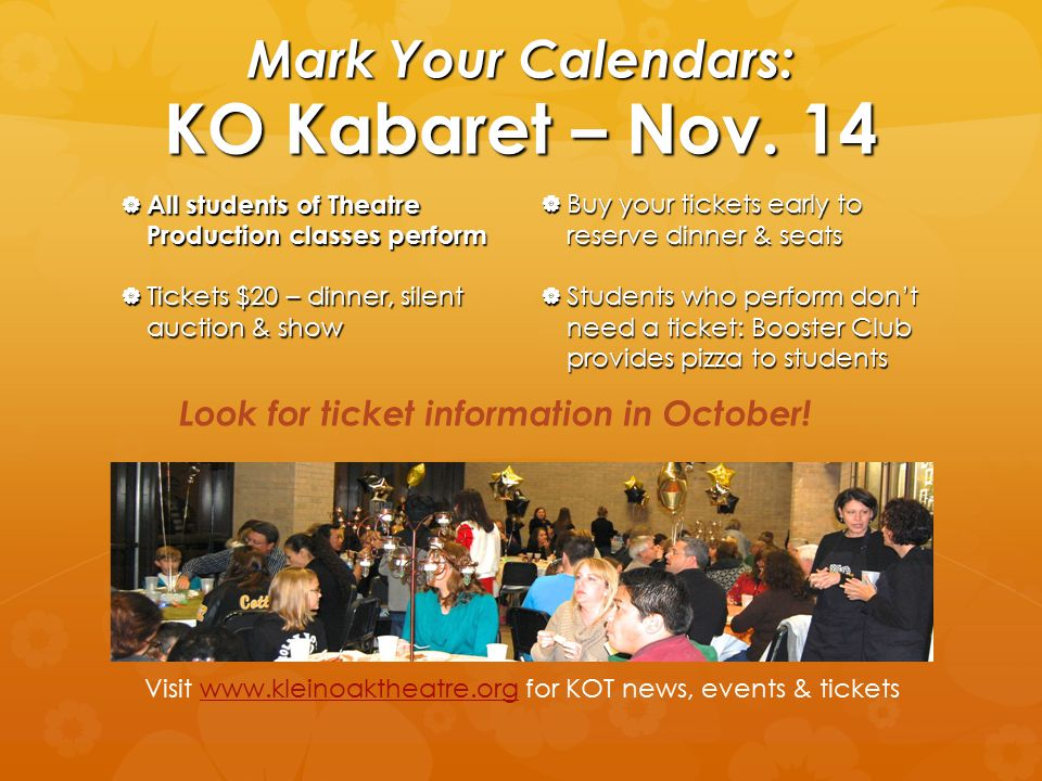 Mark Your Calendars: KO Kabaret – Nov. 14