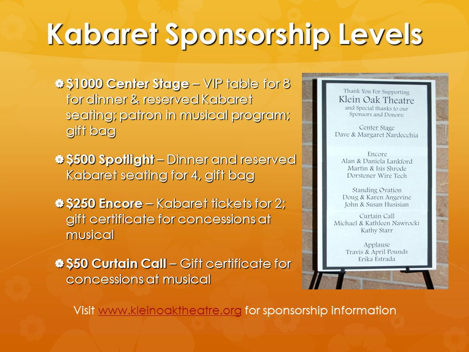 Kabaret Sponsorship Levels