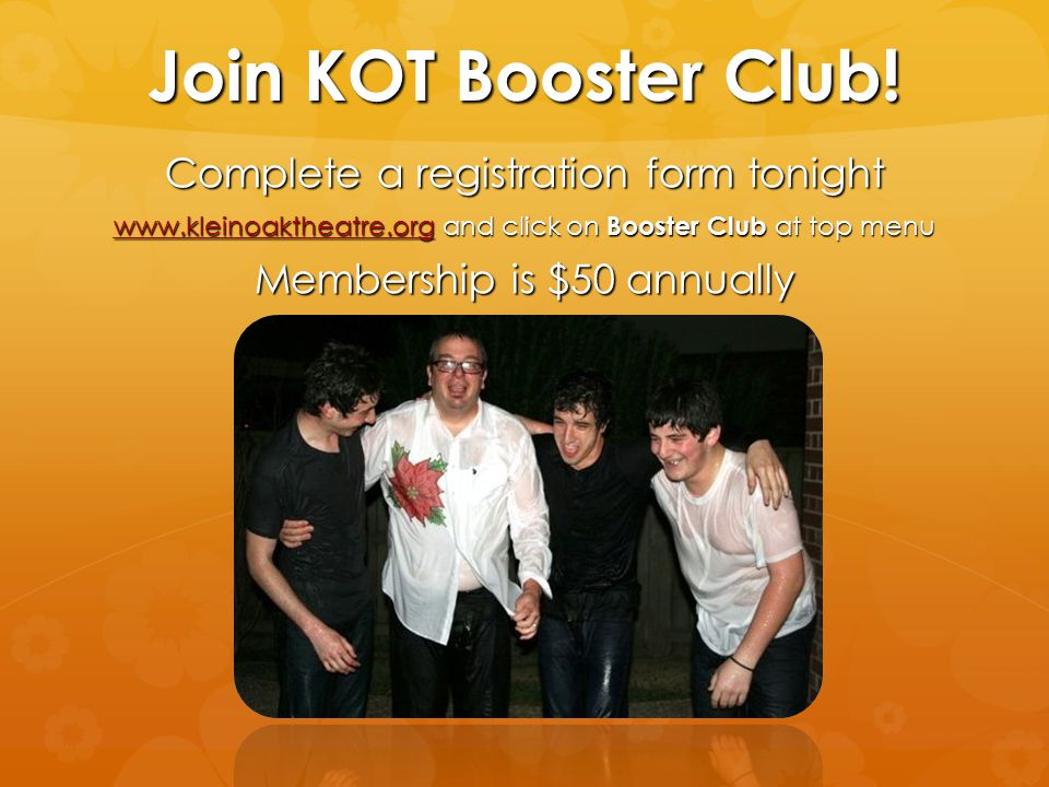 Join KOT Booster Club! Complete a registration form tonight