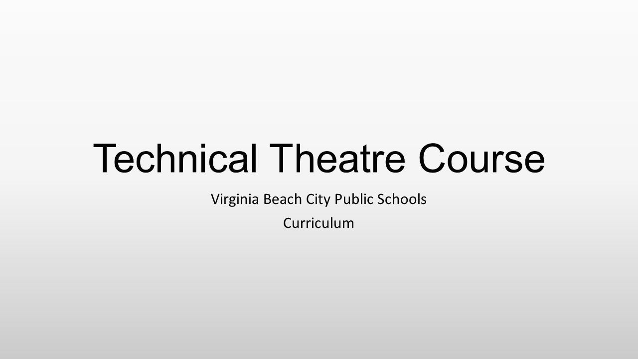 Technical Theatre Course