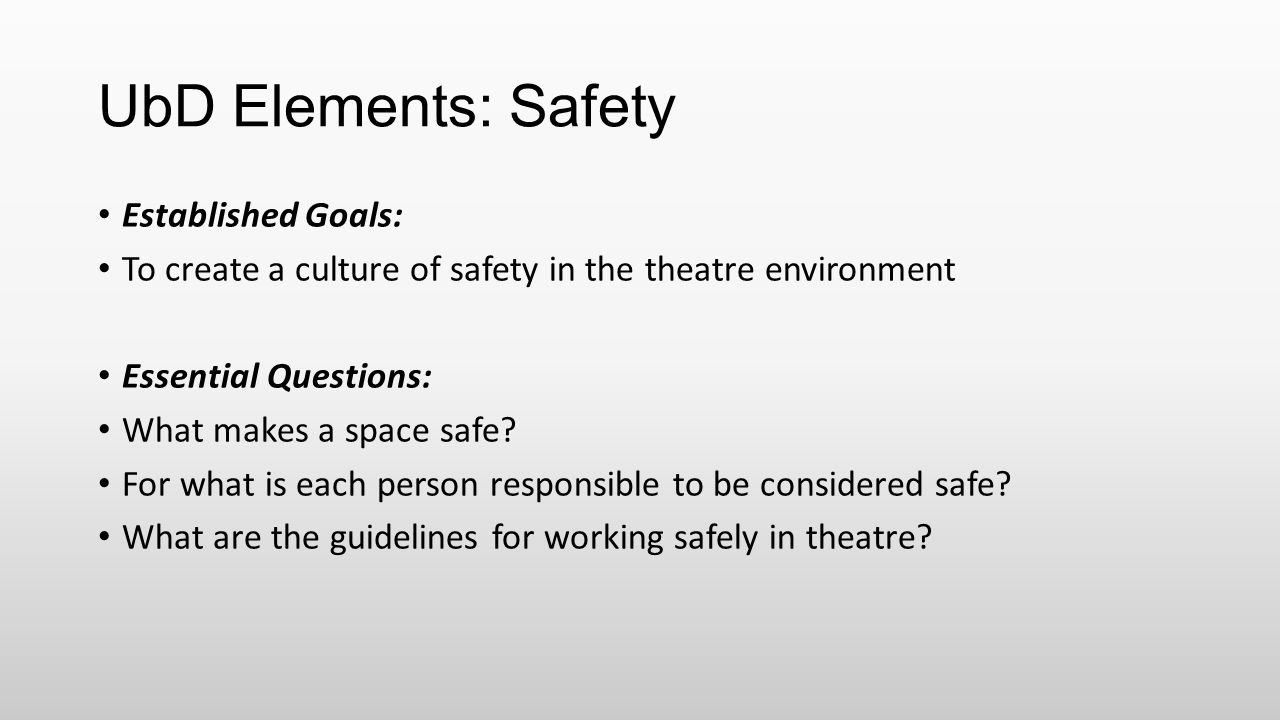 UbD Elements: Safety Established Goals:
