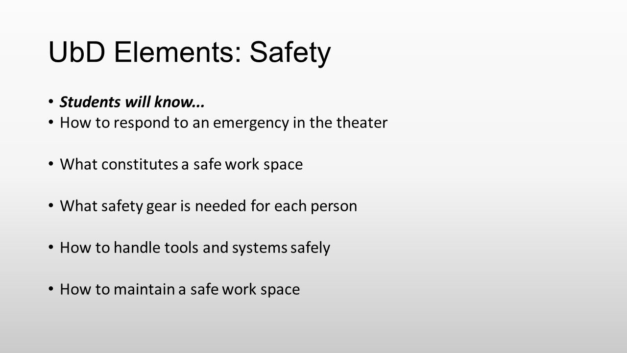 UbD Elements: Safety Students will know...