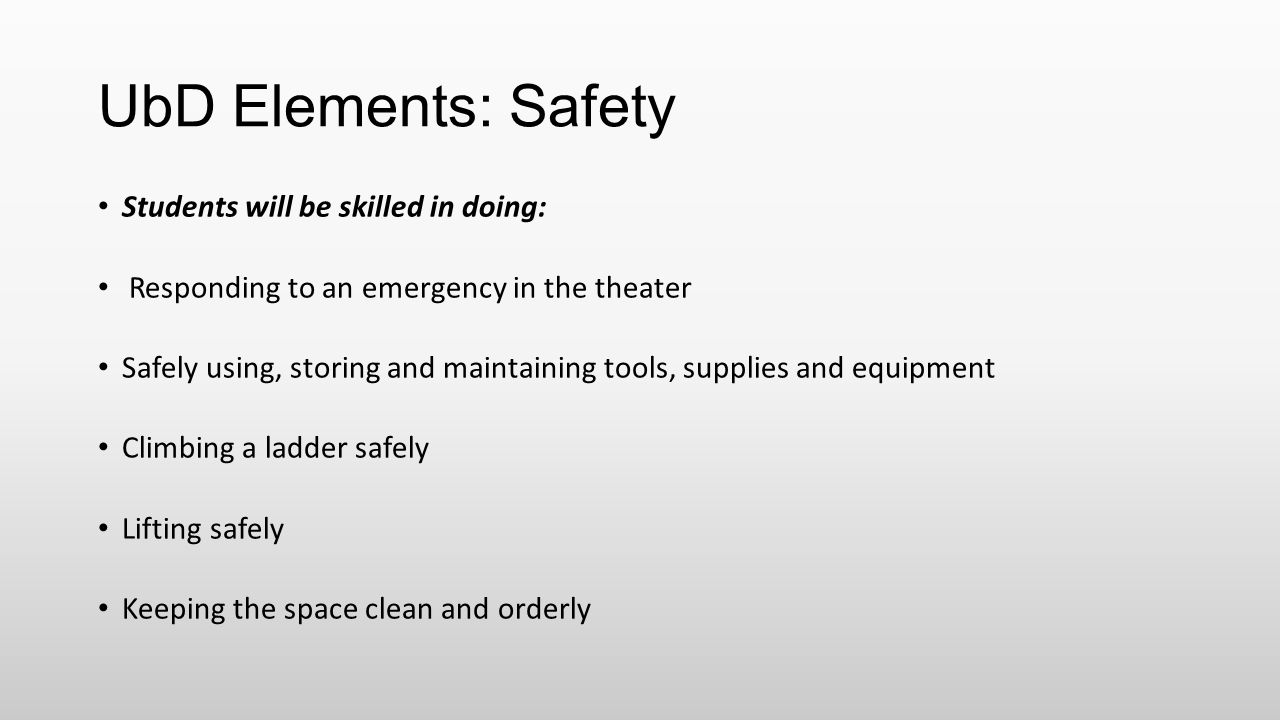 UbD Elements: Safety Students will be skilled in doing: