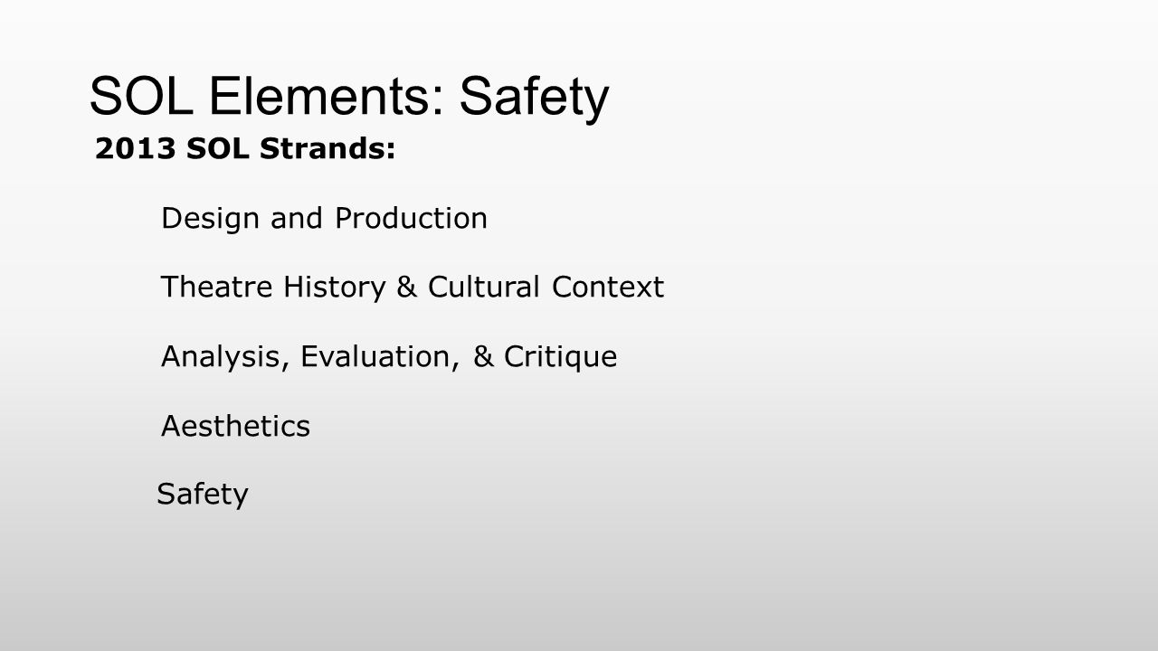 SOL Elements: Safety 2013 SOL Strands: Design and Production Theatre History & Cultural Context Analysis, Evaluation, & Critique Aesthetics Safety