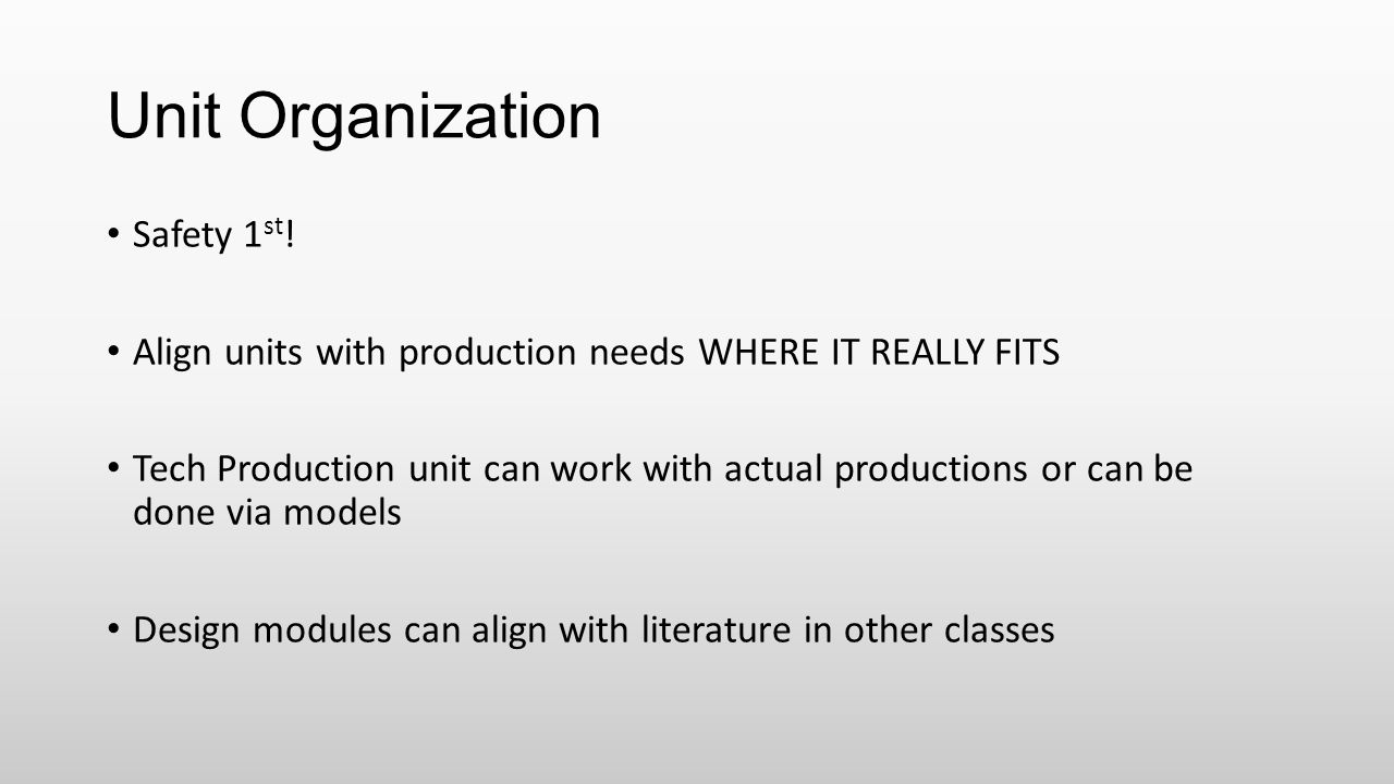 Unit Organization Safety 1st!