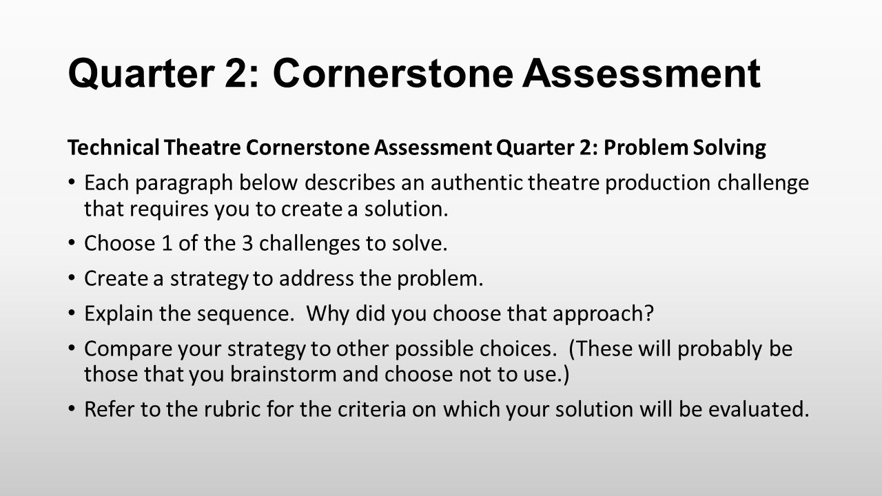 Quarter 2: Cornerstone Assessment