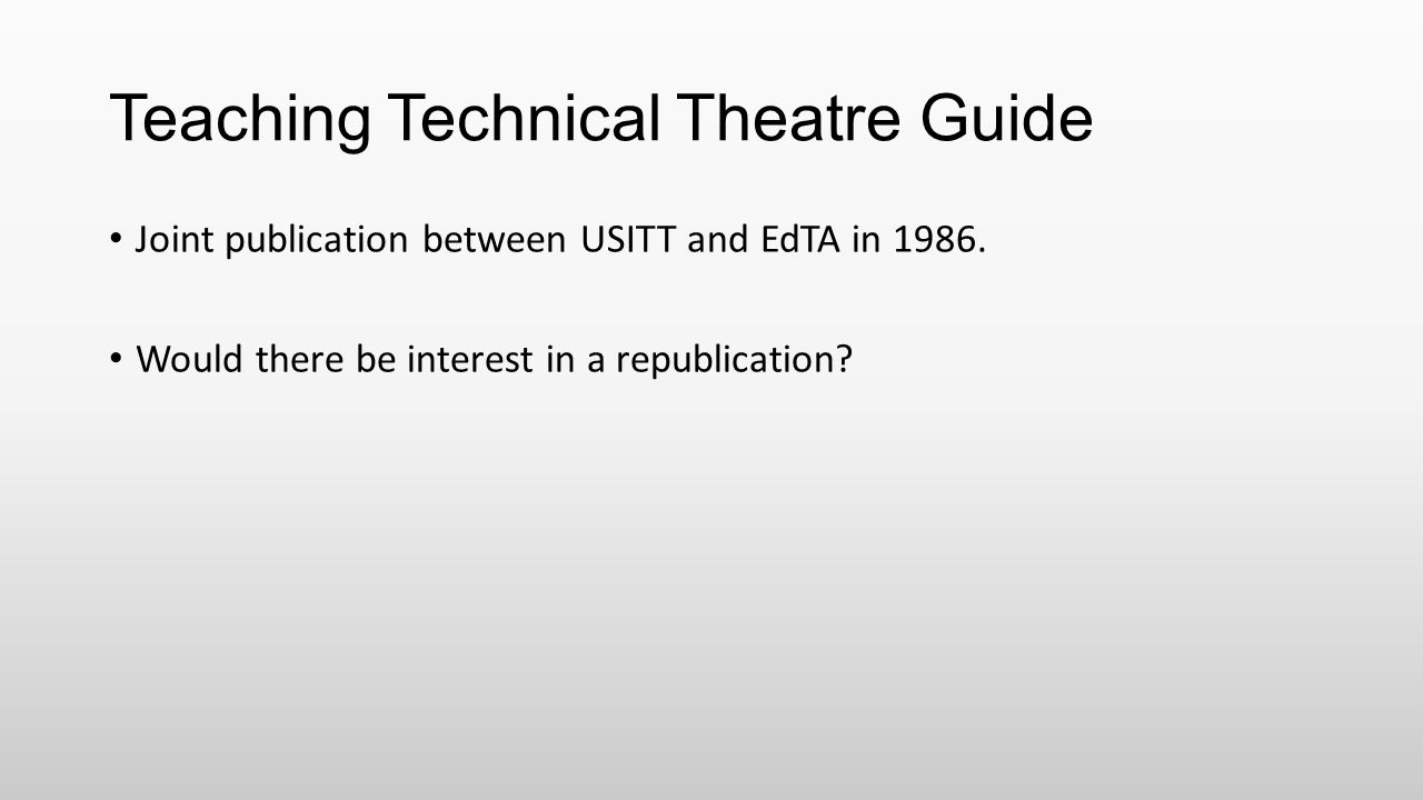 Teaching Technical Theatre Guide