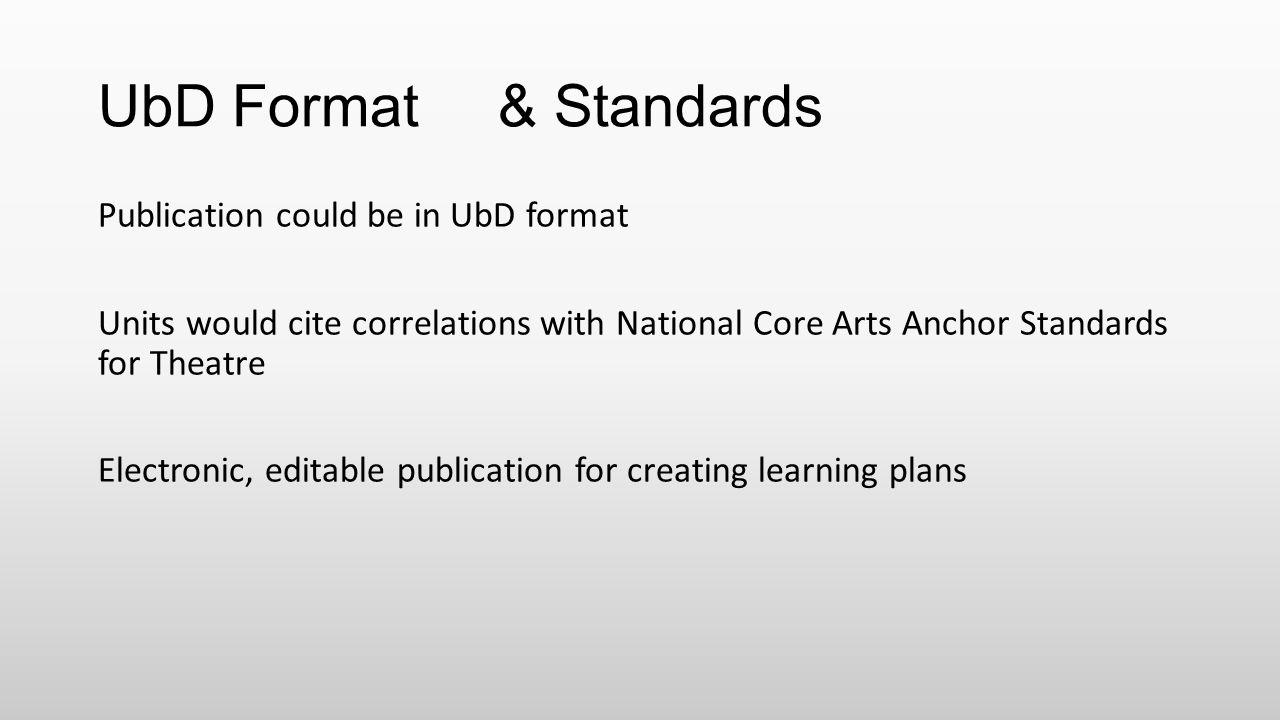UbD Format & Standards