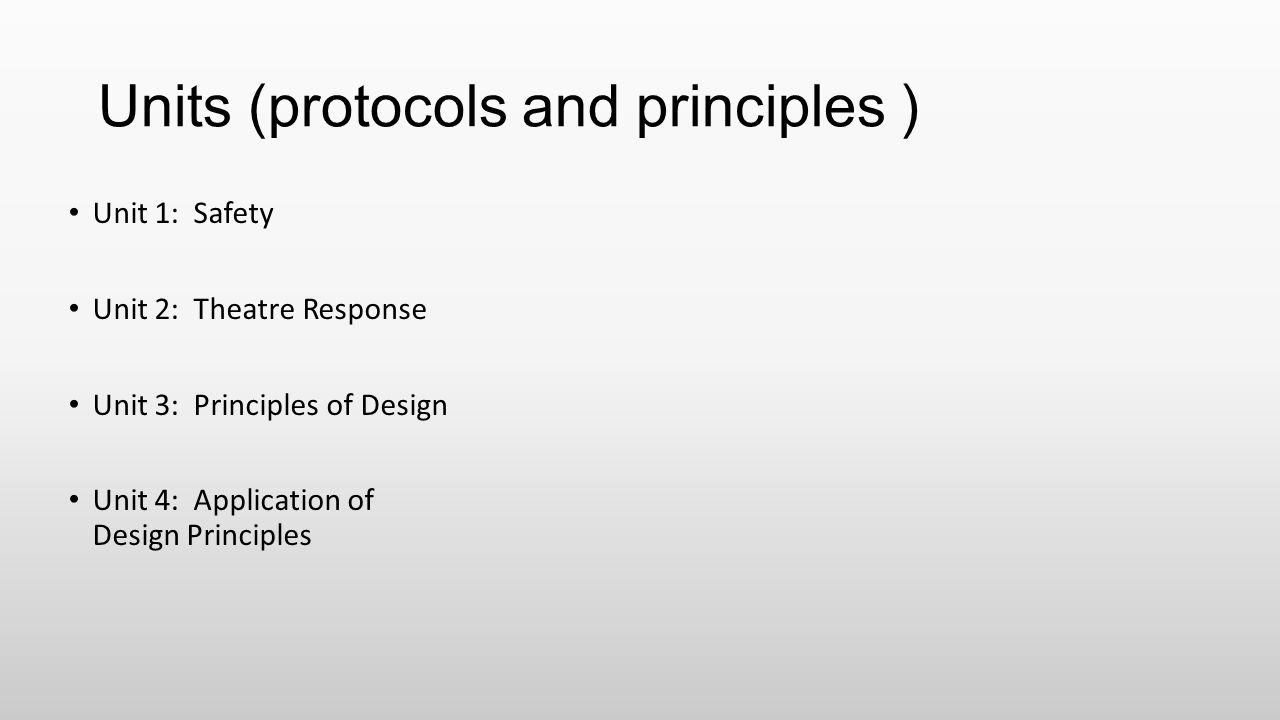 Units (protocols and principles )