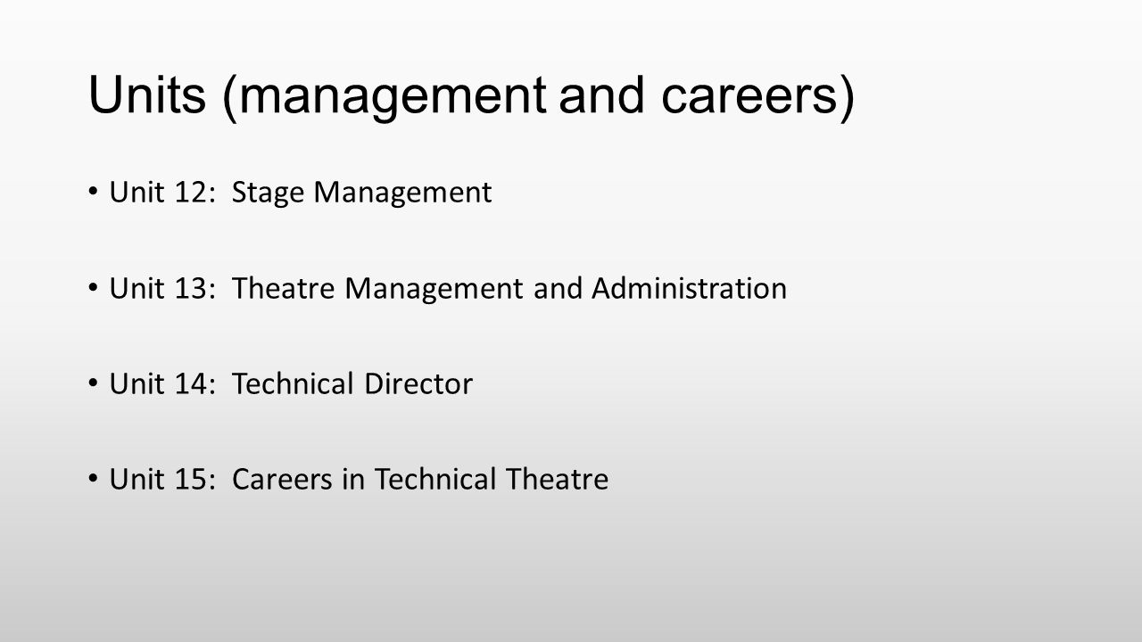 Units (management and careers)