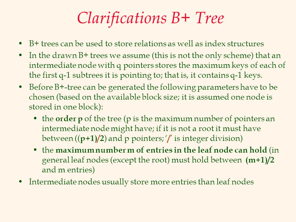 Clarifications B+ Tree