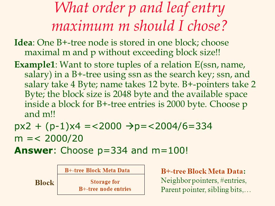 What order p and leaf entry maximum m should I chose