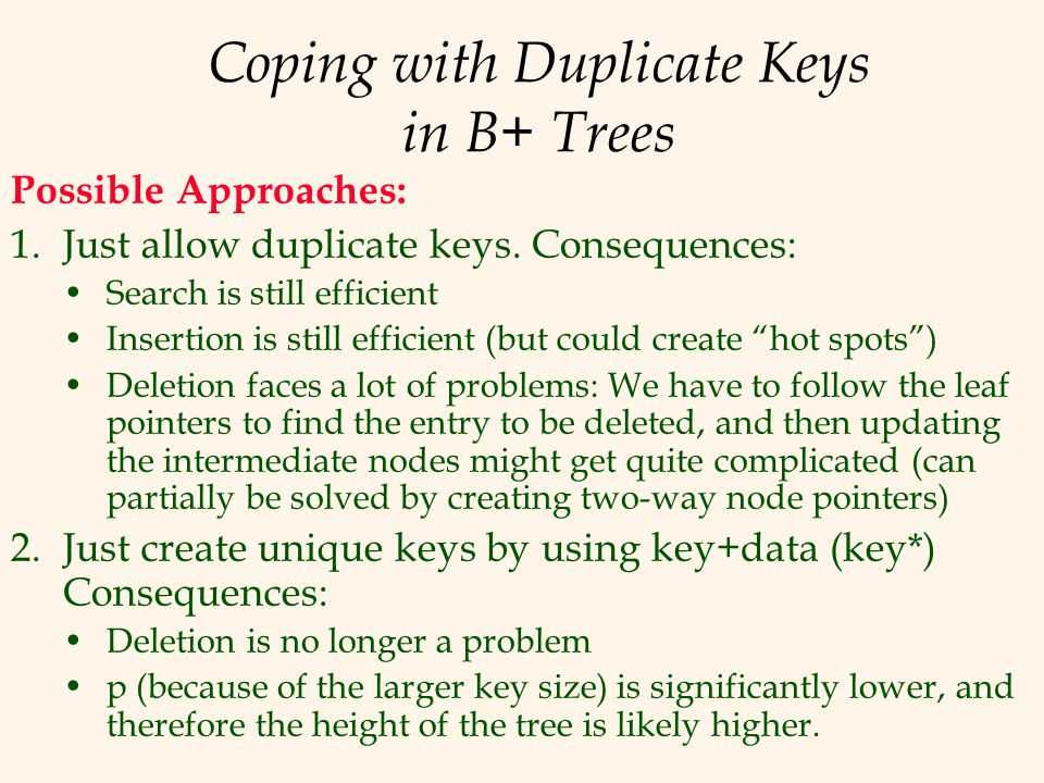 Coping with Duplicate Keys in B+ Trees