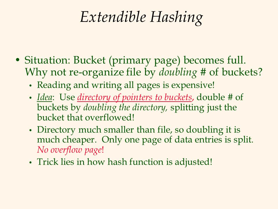 Extendible Hashing Situation: Bucket (primary page) becomes full. Why not re-organize file by doubling # of buckets